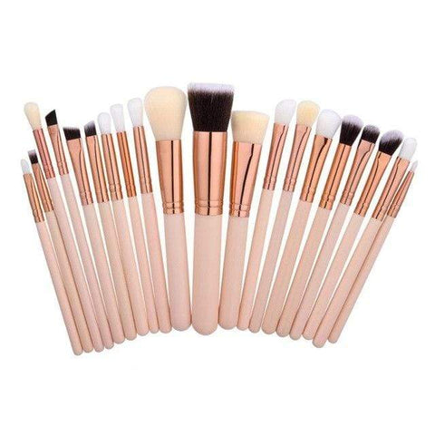 Natural Wood Professional Rose Gold Makeup Brushes Set 20 Piece - Beautyshop.ie