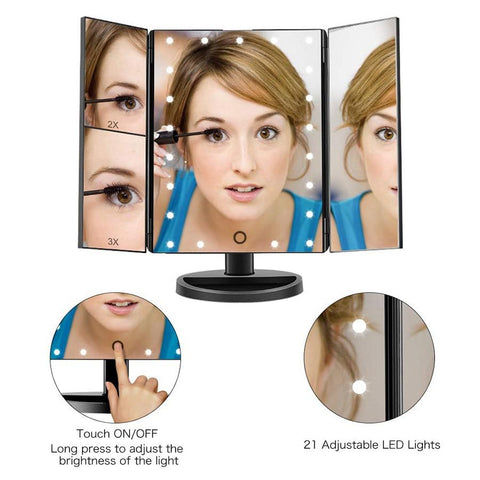Tri-Folded Lighted Vanity Mirror with Touch Screen with 22 LED-lights - Beautyshop.ie
