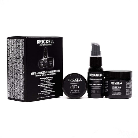 Brickell Men's Advanced Organic Anti-Aging Routine, Night Face Cream, Vitamin C Facial Serum and Eye Cream