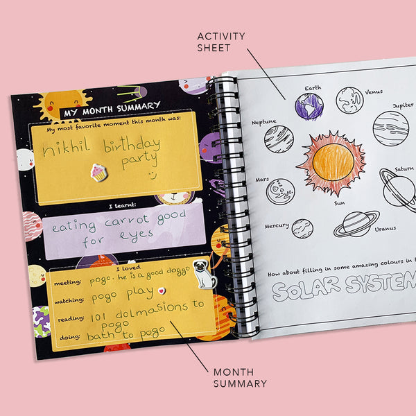 Custom Name Dragon Flower Kids Planner