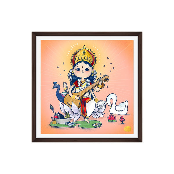 Gold Foiled Saraswati Wall Art