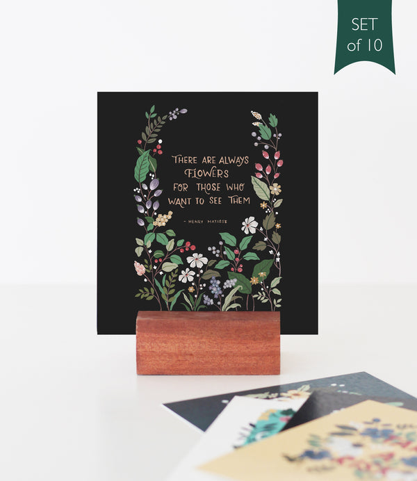 Mini Prints on a Wooden Stand - Quotes | Set of 10