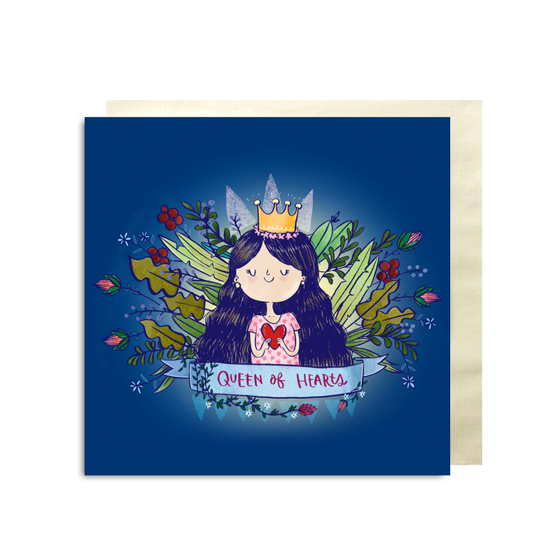 Queen Of Hearts Premium Card