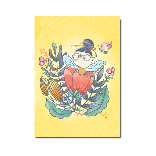 Yellow Flowers postcard, set of 5