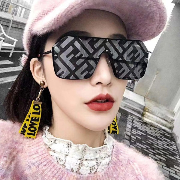 b1b3f852bb63d Oversize Sunglasses Women Letter Mirror Coating Fashion Shades ...