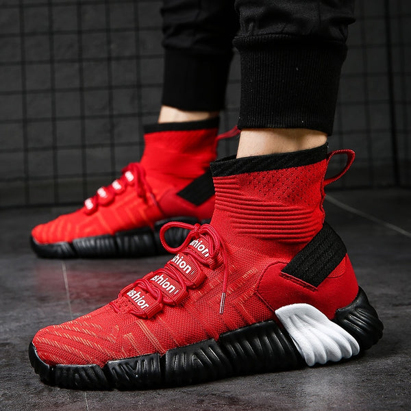 1efc9144 Hot Sale Men High Top Knit Breathable Sock Running Shoes Lightweight Sport Shoes  Sneakers