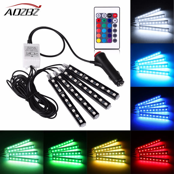 4Pcs Flexible RGB LED Strip Light Multi Color Atmosphere Decorative Lamp Car Interior Light With Remote Control