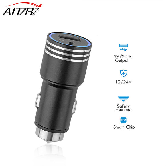 AOZBZ FM Transmitter MP3 Player FM Transmitter Bluetooth Car Charger Safety Hammer with Hands-free Call Modulator 2.1A Output