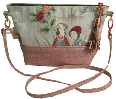 Skinny cross body pouch in pink cork & linen with rose gold hardware
