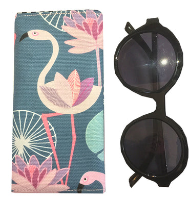 Glasses Pouch - Pink Flamingoes