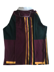 "Jumble Tweeds - Vertical striped Rugby top 44""/112cm in Maroon Gold & Black"