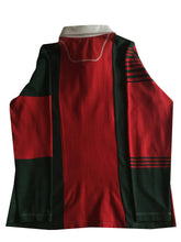 "Jumble Tweeds - Vertical striped Rugby top 44""/112cm in Red & Dark Green"