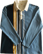 "Jumble Tweeds - Vertical striped Rugby top 48""/122cm in  Sky Navy Yellow & White"