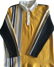 "Jumble Tweeds - Vertical striped Rugby top 48""/122cm in  Yellow Black Navy & White"