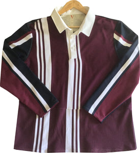 "Jumble Tweeds - Vertical striped Rugby top 48""/122cm in Maroon White & Black"