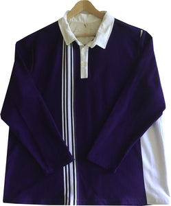 "Jumble Tweeds - Vertical striped Rugby top 52"" / 132cm in Purple & White"