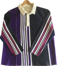 "Jumble Tweeds - Vertical striped Rugby top 52"" / 132cm in Purple Black Cerise & White"