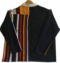 "Jumble Tweeds - Vertical striped Rugby top 55 1/2"" / 141cm in Gold Black Red White Navy"