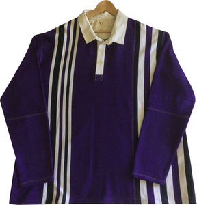 "Jumble Tweeds - Vertical striped Rugby top 55 1/2"" / 141cm in Purple & White"