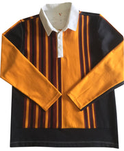 "Jumble Tweeds - Vertical striped Rugby top 44""/112cm in Black Gold & Maroon"