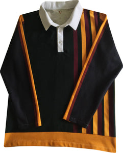 "Jumble Tweeds - Vertical striped Rugby top 44""/112cm in  Black Gold Maroon  & Dk Green"