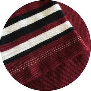 "Jumble Tweeds - Vertical striped Rugby top 48""/122cm in  Black  Maroon  & White"