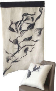 Wall Hanging & Cushion Ensemble  - Artisan Felted Wool -  Smoke