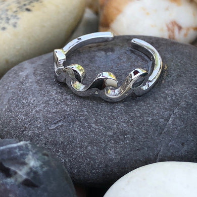 Women's Sterling Silver Tribal Wave Toe Ring