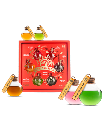 Pickerings Gin Baubles - Festive Flavours (6x 50ml Miniatures)