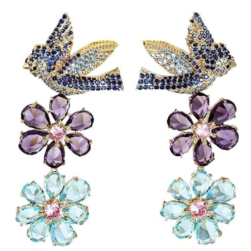 Luxe Crystal Bird and Flower Drop Earrings