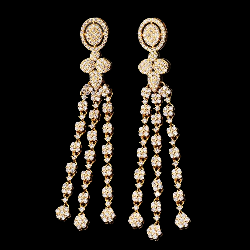 Mon Amour Crystal Cascade Waterfall Earrings