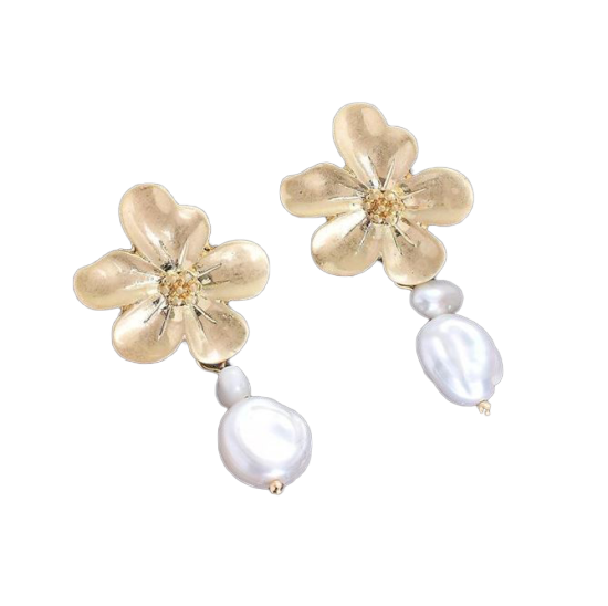 Desert Rose Pearl Drop Stud Earrings