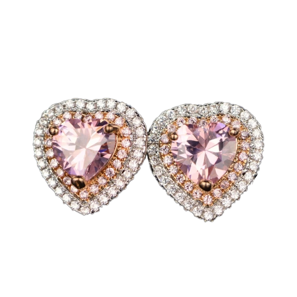 Pink Spinel Heart Shaped Stud Earrings