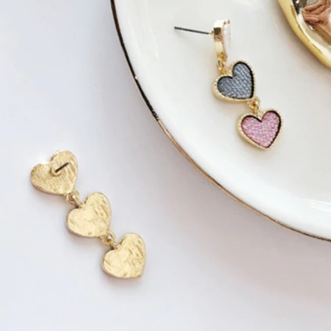 Multicolored Interlocking Heart Dangle Earrings