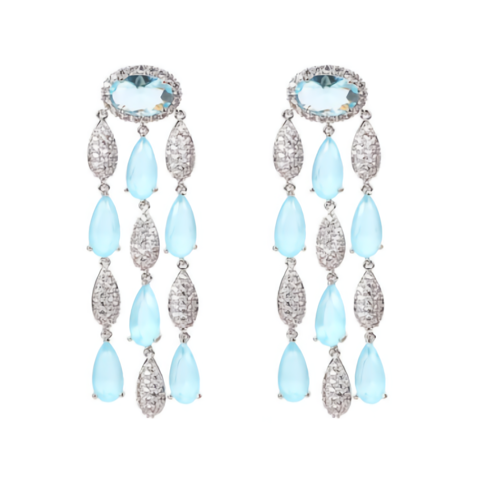 Luxe Goddess Sky Blue Crystal Statement Drop Earrings