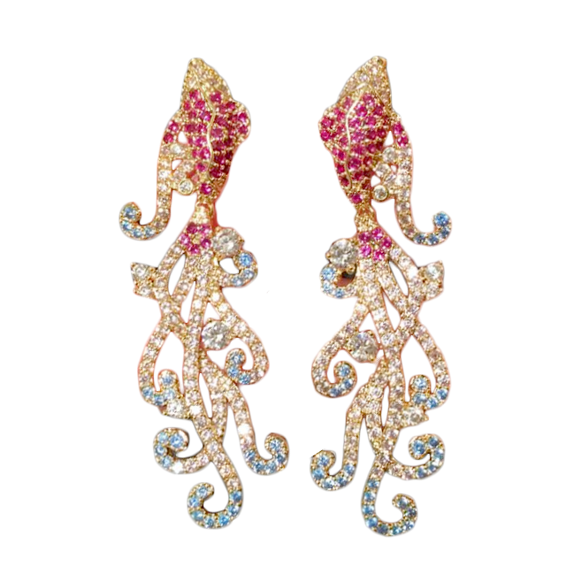 Multicolored Crystal Goldfish Statement Chandelier Earrings