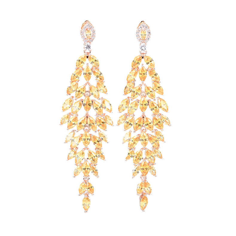 Pomona Rose Gold Leaf Chandelier Drop Earrings