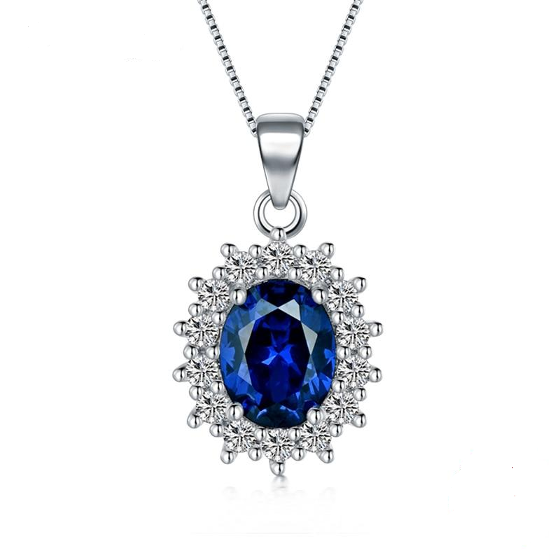 Luxe Princess Blue Crystal Pendant Necklace