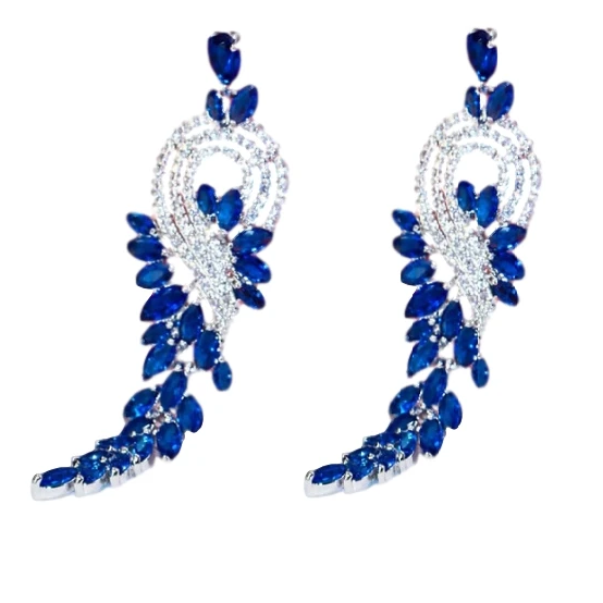 Luxe Blue Crystal Dangle Earrings