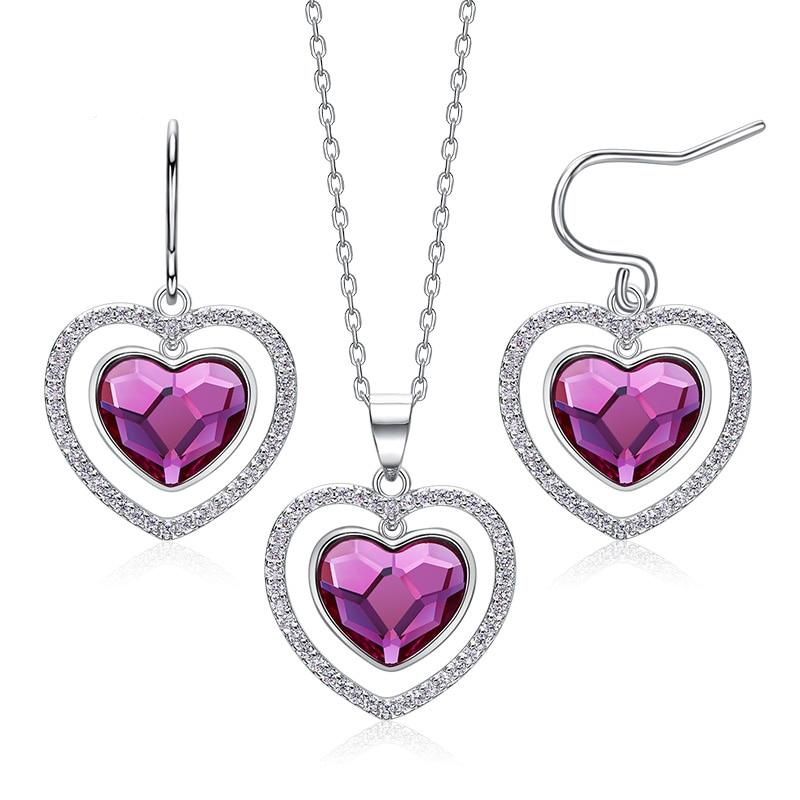 So Chic Jewels 925 Sterling Silver Heart Necklace with Crystal
