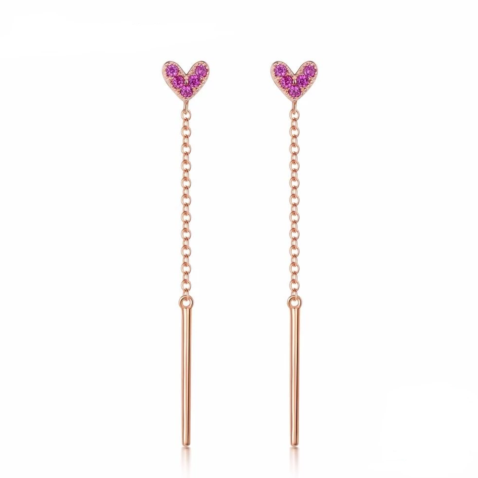 Pink Heart Tassel Earrings