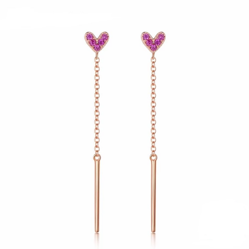 Blue Double Hearts Stud Drop Earrings