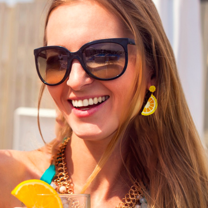 Lemon Cocktail Party Drop Stud Earrings