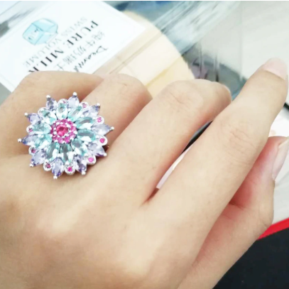 Multicolor Gemstone Flower Ring