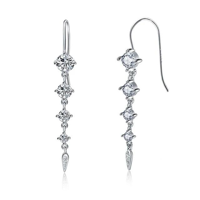Silver Crystal Linear Drop Earrings