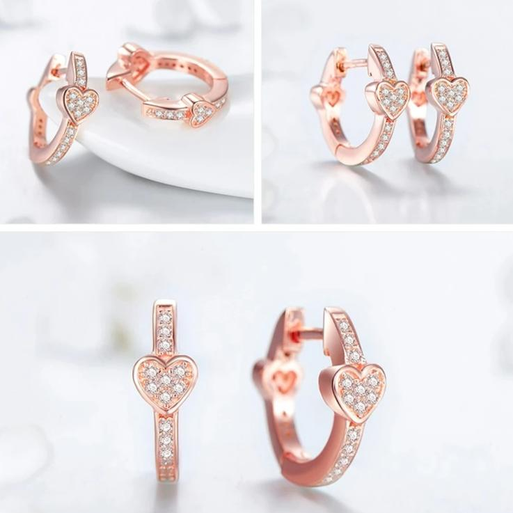 Rose Gold Heart-Shaped Huggie Hoop Earrings