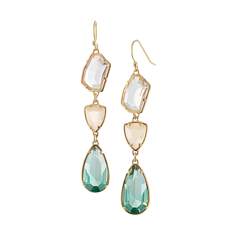 Morning Mist Triple Stone Drop Earrings