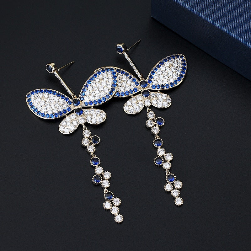 Luxe Crystal Butterfly Tassel Earrings