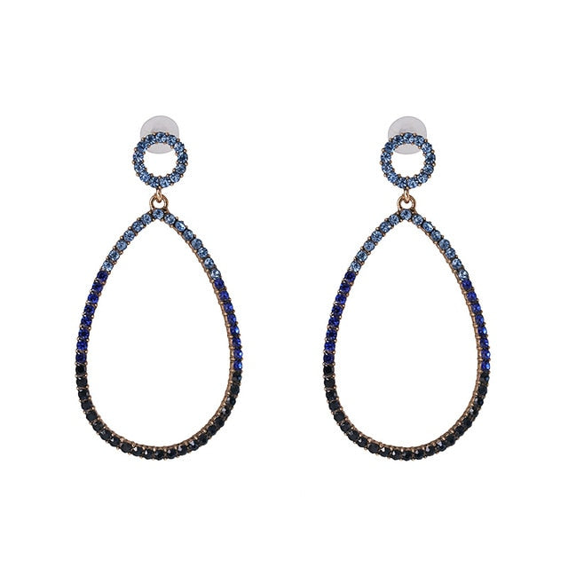 Blue Rhinestone Pavé Teardrop Hoop Earrings