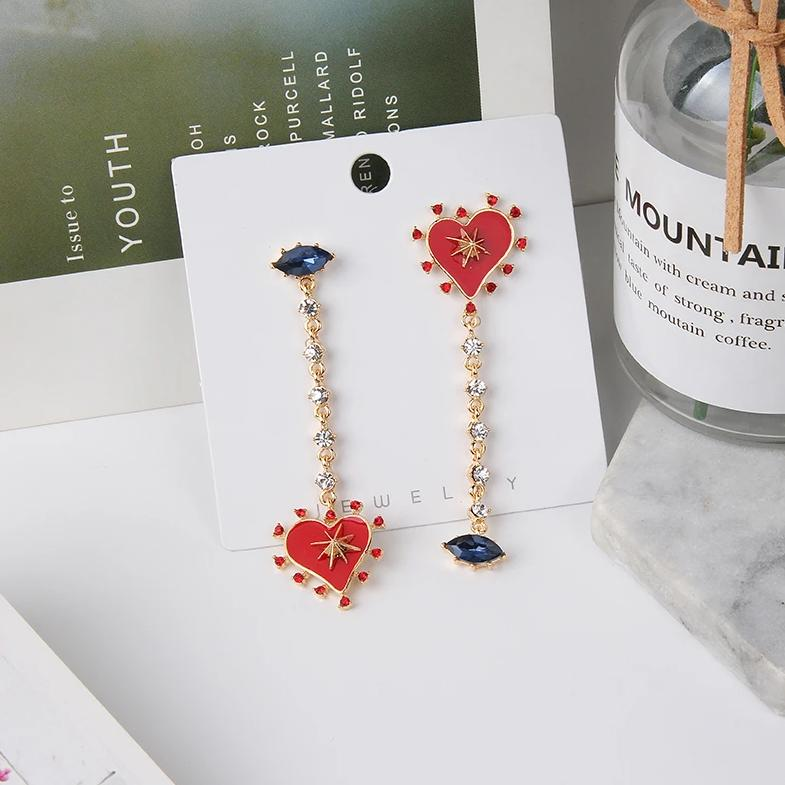 Asymmetrical Heart Drop Earrings